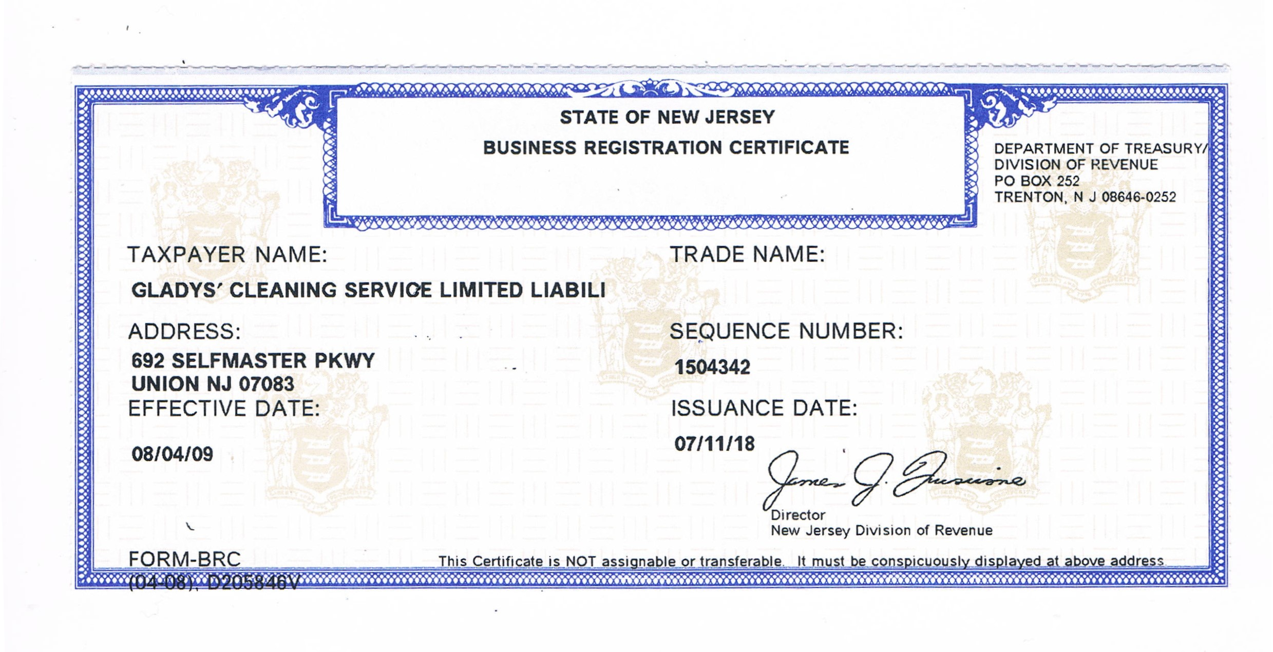 certificate registration why business cleaning service nj llc